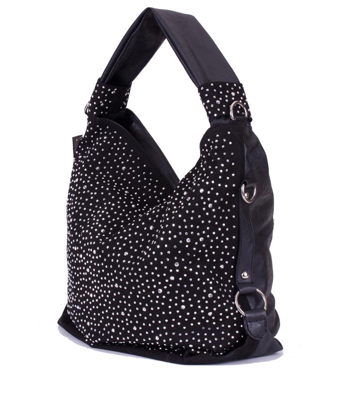 trendy glitzer xl tasche handtasche shopper mit strass nieten in schwarz ebay. Black Bedroom Furniture Sets. Home Design Ideas